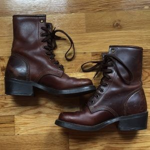 Vintage Dark Brown Leather Riding Boots